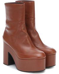 Dries Van Noten Leather Platform Ankle Boots - Brown