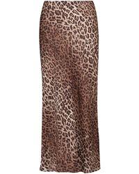 RIXO London Jupe midi Kelly à motif léopard - Marron