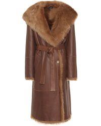 JOSEPH Cree Belted Shearling Coat - Brown