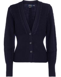 Polo Ralph Lauren Ribbed-knit Wool Cardigan - Blue