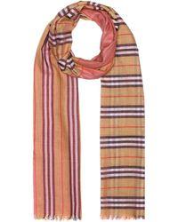 Lyst - Grand carré de laine et soie à motif Vintage check tie-dye ... 771a4deb4eb