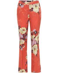 Etro Mid-rise Silk-blend Bootcut Pants - Orange