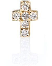 Sydney Evan Boucle d'oreille unique en or 14 carats et diamants Tiny Cross - Métallisé