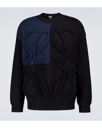 Loewe Anagram Embroidered Cotton Sweater - Blue