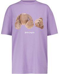 Palm Angels Bedrucktes T-Shirt aus Baumwolle - Lila