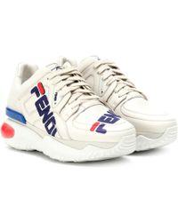 Fendi - Mania Leather Sneakers - Lyst