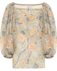 Chloé Floral Ramie Off-shoulder Blouse - Multicolour