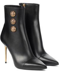 Balmain Roni Leather Ankle Boots - Black