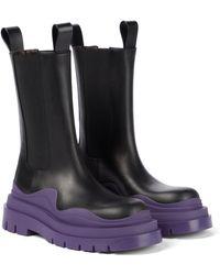 Bottega Veneta Bv Tire Leather Ankle Boots - Black
