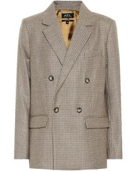 A.P.C. Prune Checked Wool Blazer - Natural
