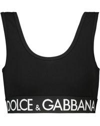 Dolce & Gabbana Sport-BH aus Baumwolle mit Logo - Schwarz