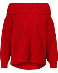 Alaïa Pull à encolure bardot en laine et cachemire - Rouge