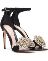 Alexander McQueen - Embellished Suede Sandals - Lyst