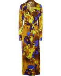 Dries Van Noten Gabardina de satén floral - Amarillo