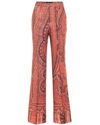 Etro Pantalone Arancione Con Motivo Arabesque