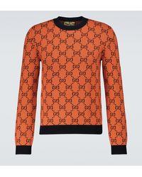 Gucci Pull à col rond GG Multicolor - Orange