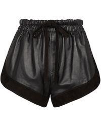 Saint Laurent Shorts aus Leder - Schwarz