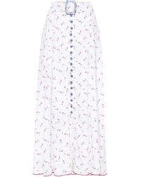 Gül Hürgel Floral Linen Maxi Skirt - White