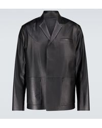 Prada Hemdjacke aus Leder - Schwarz