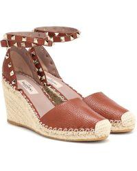 Valentino Rockstud Leather Wedge Espadrilles - Brown