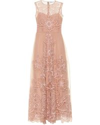 RED Valentino Embroidered Silk Gown - Pink