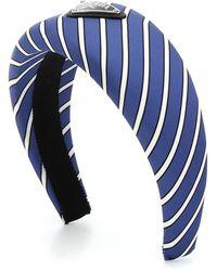Prada Gestreifter Haarreif aus Satin - Blau