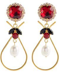 Erdem Ohrringe mit Kristallen und Zierperlen - Rot
