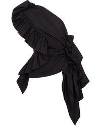 Dries Van Noten One-shoulder Cotton Poplin Top - Black