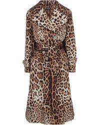 Dolce & Gabbana Trench-coat à motif léopard - Marron