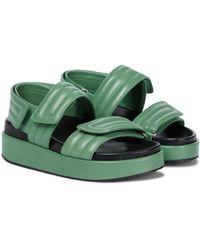 Dries Van Noten Leather Slingback Sandals - Green