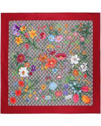 Gucci GG Flora Print Silk Scarf - Red