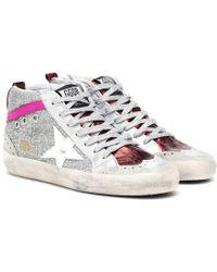 Golden Goose Deluxe Brand Sneakers Mid Star in pelle con glitter - Multicolore