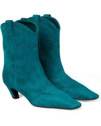 Khaite Ankle Boots Dallas aus Veloursleder - Grün