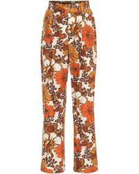 Dodo Bar Or Floral Cotton Pants - Orange