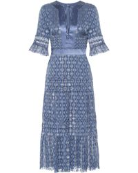 Temperley London Suki Silk Blend Midi Dress - Blue