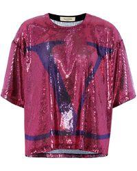 Valentino – T-shirt VLOGO à sequins - Rose