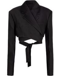 Proenza Schouler Cropped Wool And Silk-blend Jacket - Black