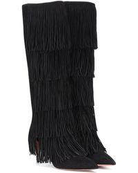 Aquazzura Shake 85 Suede Fringe Boots - Black