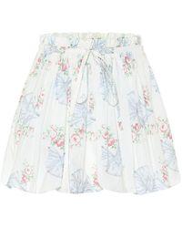 LoveShackFancy Minifalda Cheyenne de algodón floral - Blanco