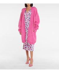 ROTATE BIRGER CHRISTENSEN Kayana Wool And Mohair-blend Cardigan - Pink
