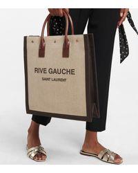 Saint Laurent Shopper Noe aus Leinen und Leder - Mehrfarbig