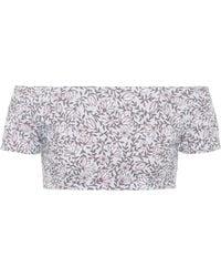 She Made Me - Sita Floral-printed Bikini Top - Lyst