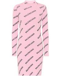 Balenciaga Logo Ribbed-knit Minidress - Pink