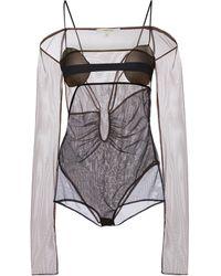 Nensi Dojaka Stretch-tulle Bodysuit - Black