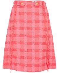 Etro Checked Jacquard Midi Skirt - Pink