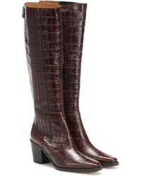 Ganni Western Knee High Boots - Brown