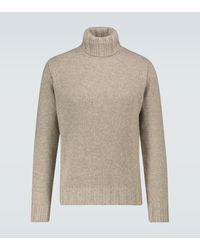 Lardini Wool Blend Turtleneck Jumper - Natural