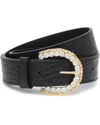 Alessandra Rich Embellished Croc-effect Leather Belt - Black