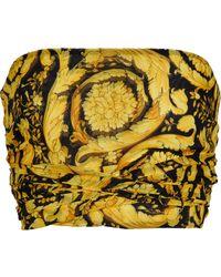 Versace Top bandeau de seda estampado - Metálico
