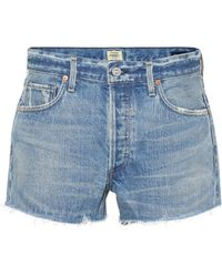 Citizens of Humanity Mid-Rise Jeansshorts Bree - Blau